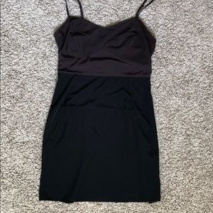 Date night spaghetti strap black and purple dress